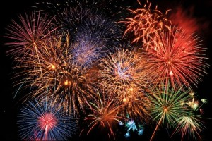Colorful fireworks lighting the night sky